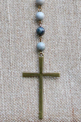 N133G; Brasstone Cross; Grey Picasso Jasper Chain; Appproximately 36 inches with 5 inch Drop; ; ; ; Majestees