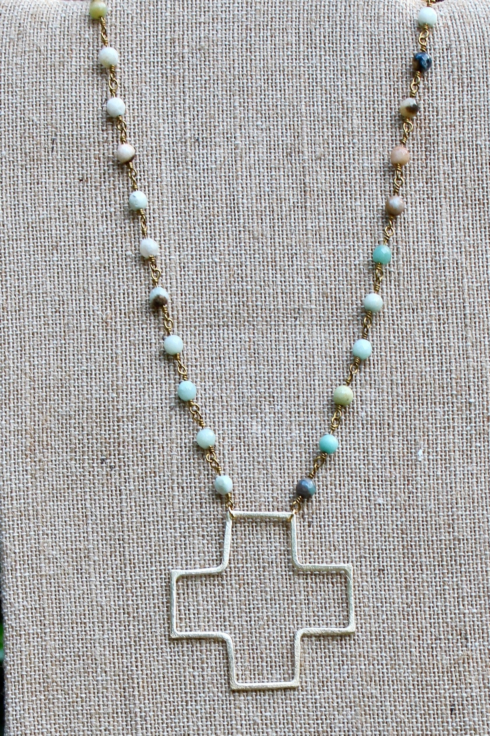 N134GA; Large Goldtone Wire Cross; 5mm Goldtone Amazonite Chain; Approximately 19 inches; ; ; ; Majestees