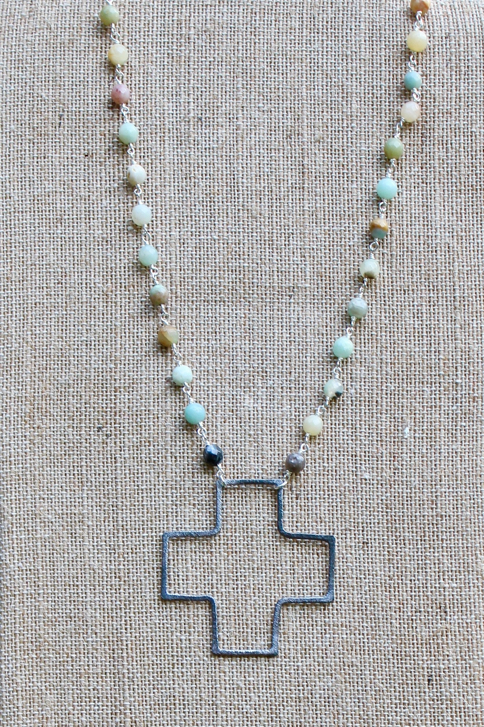 N134PA; Large Silvertone Wire Cross; 5mm Silvertone Amazonite Chain; Approximately 19 inches; ; ; ; Majestees