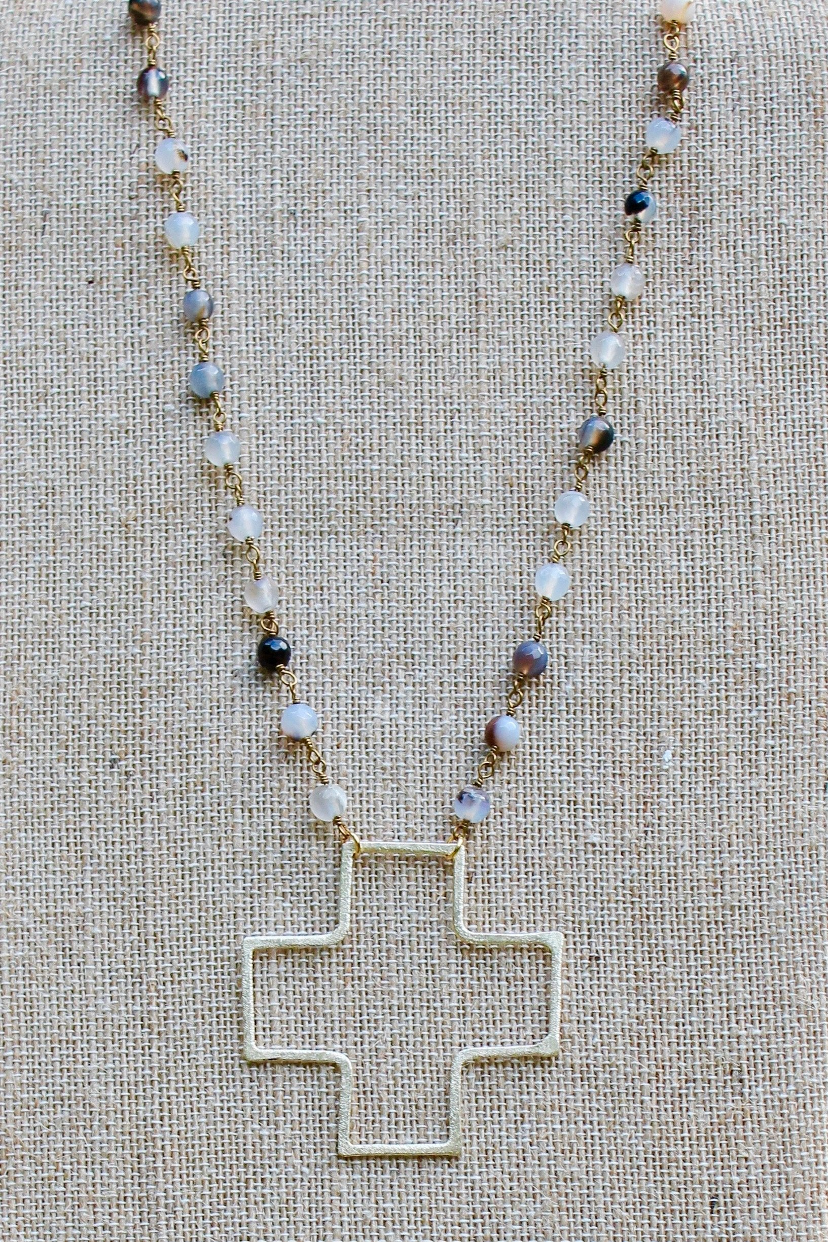 N135GB; Large Goldtone Wire Cross; 5mm Goldtone Black Agate Chain; Approximately 19 inches; ; ; ; Majestees
