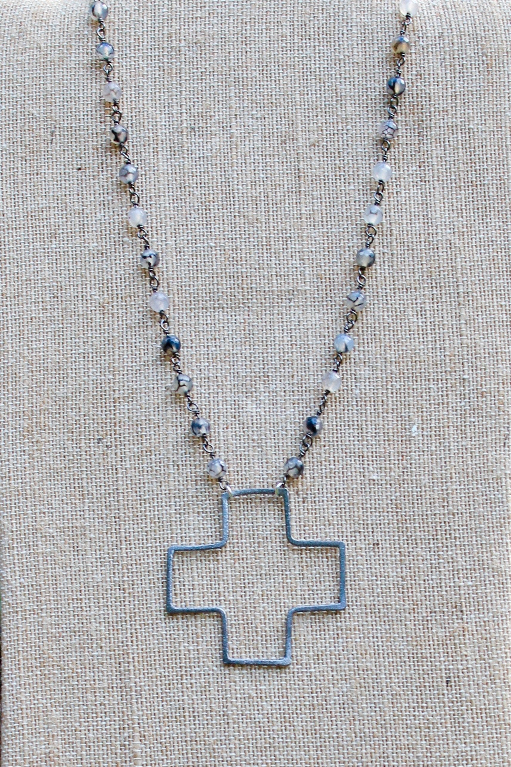 N135PB; Large Pewter Wire Cross; 5mm Silvertone Black Agate Chain; Approximately 19 inches; ; ; ; Majestees
