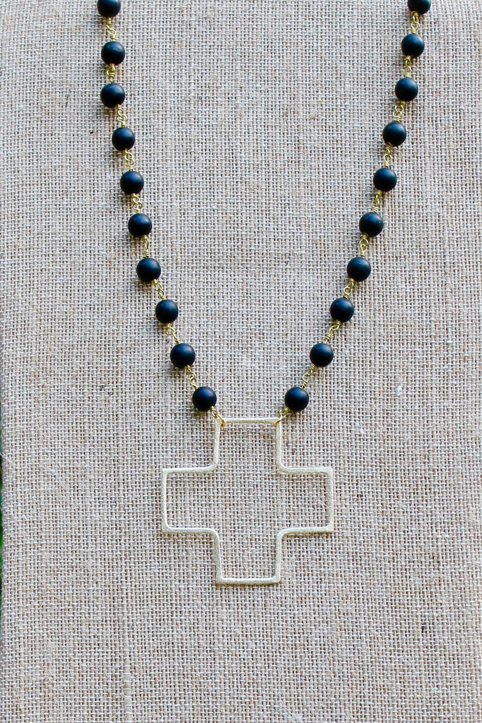 N136GB; Large Goldtone Wire Cross; 5mm Black Stone Chain; Approximately 19 inches; ; ; ; Majestees