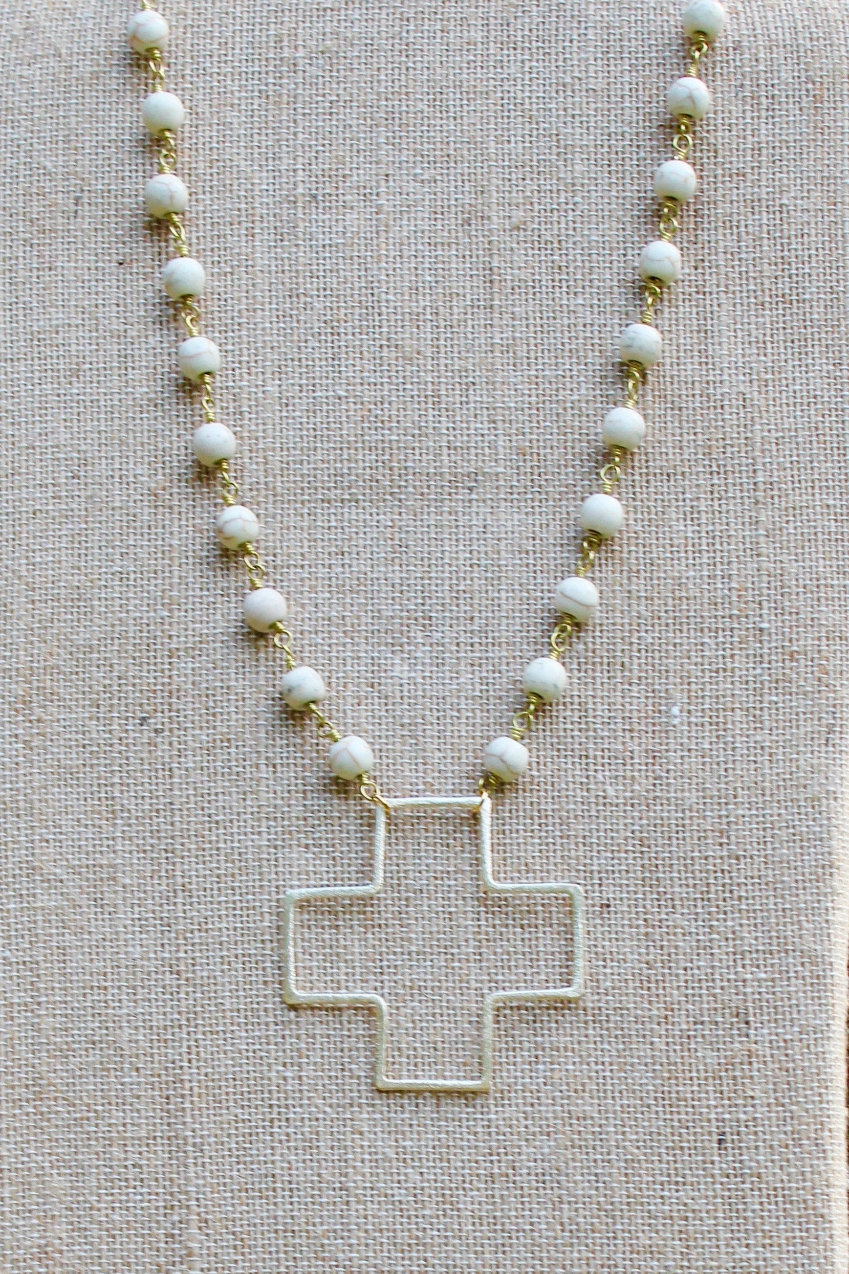 N136GW; Large Goldtone Wire Cross; 5mm White Stone Chain; Approximately 19 inches; ; ; ; Majestees