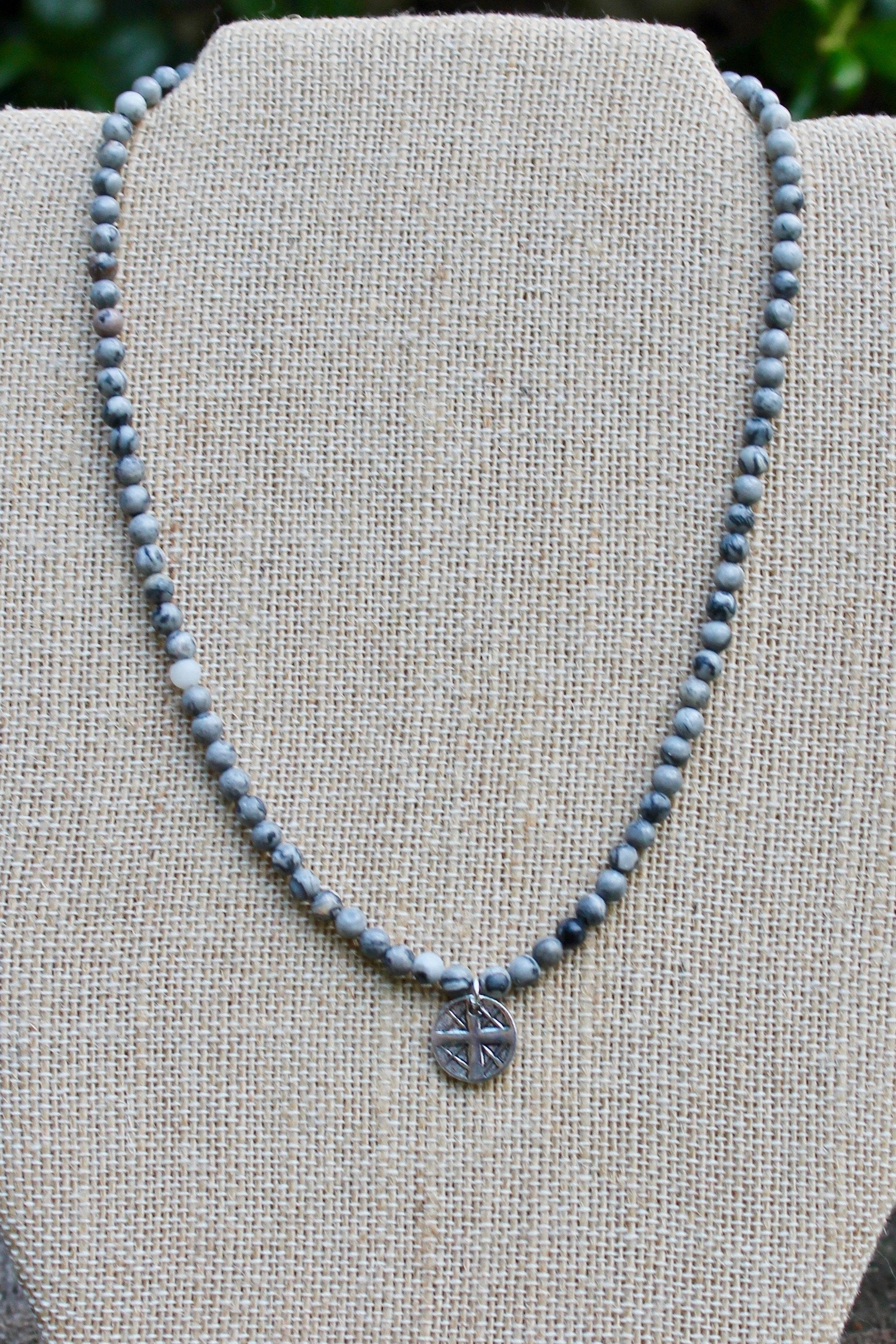 N138PG; Small Pewter Round Cross; 4mm Grey Picasso Jasper; Approximately 16 inches; ; ; ; Majestees