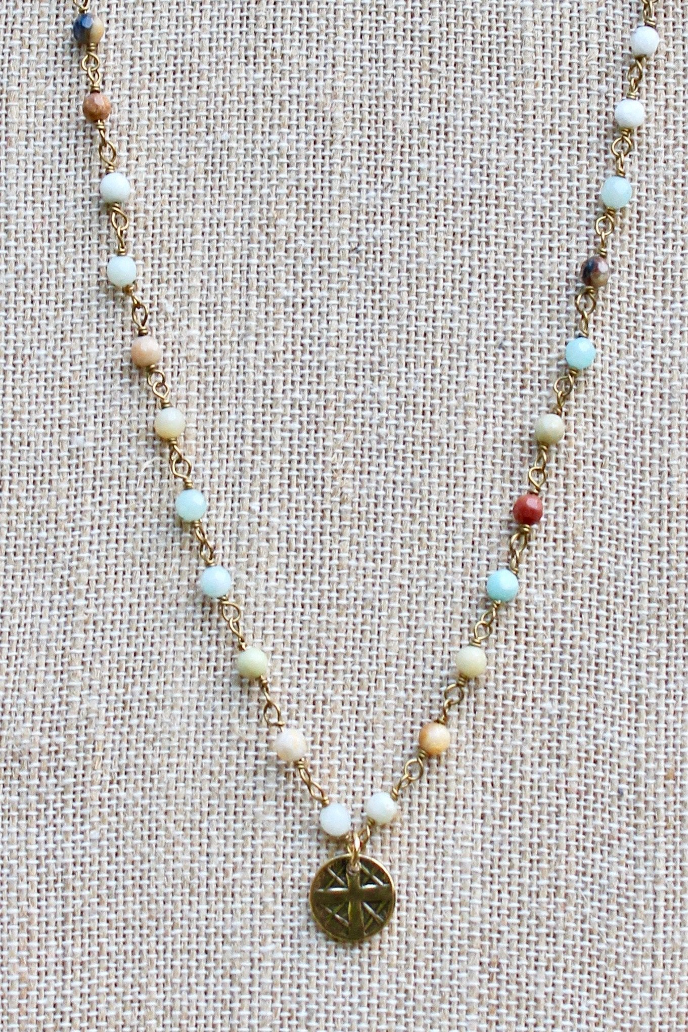 N140GA; Small Goldtone Round Cross ; 3mm Goldtone Amazonite Chain; Approximately 16 inches; ; ; ; Majestees