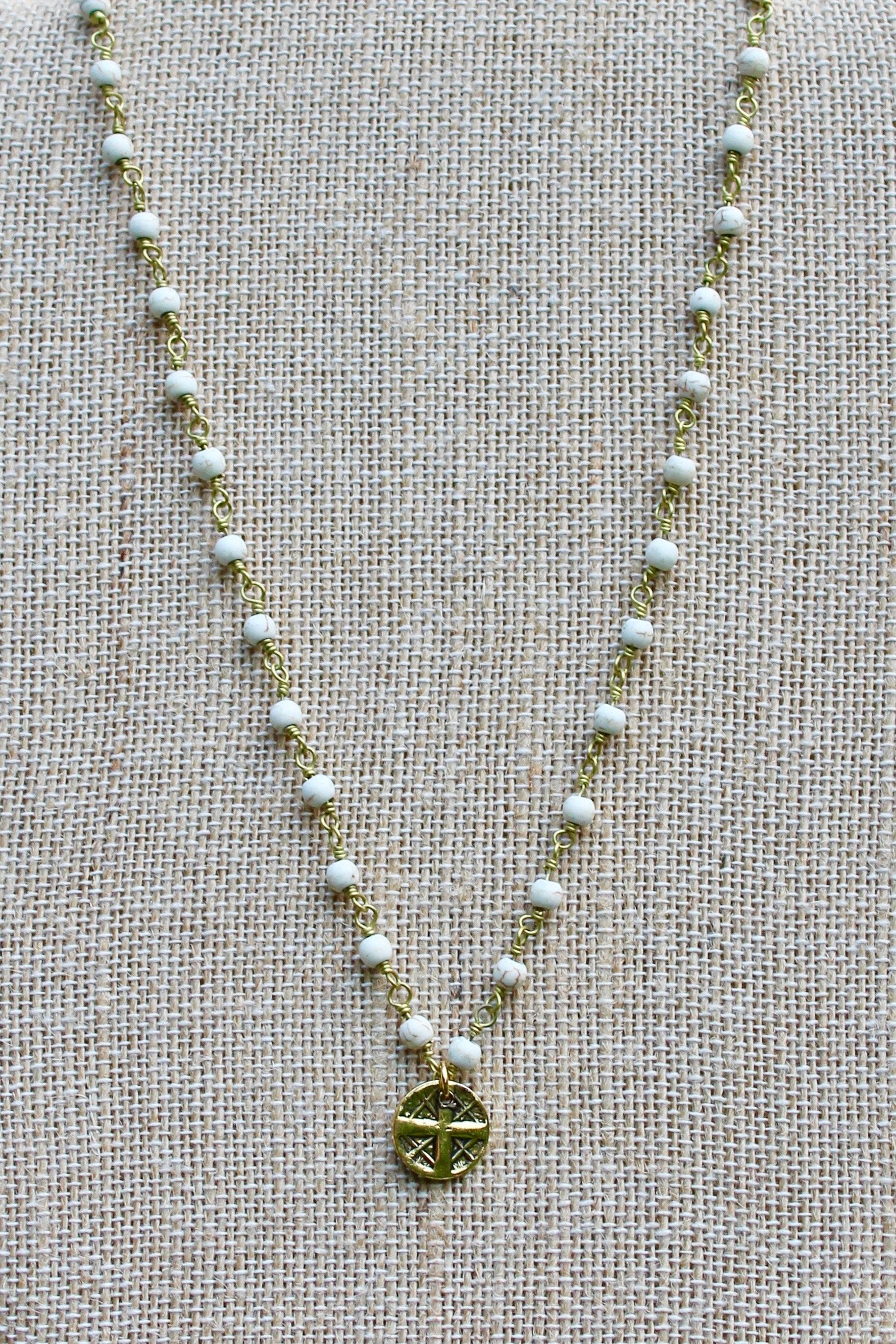 N140GW; Small Goldtone Round Cross ; 3mm Goldtone White Stone Chain; Approximately 16 inches; ; ; ; Majestees