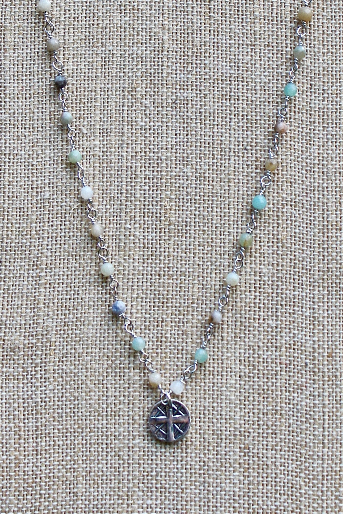 N140PA; Small Pewter Round Cross; 3mm Silvertone Amazonite Chain; Approximately 16 inches; ; ; ; Majestees
