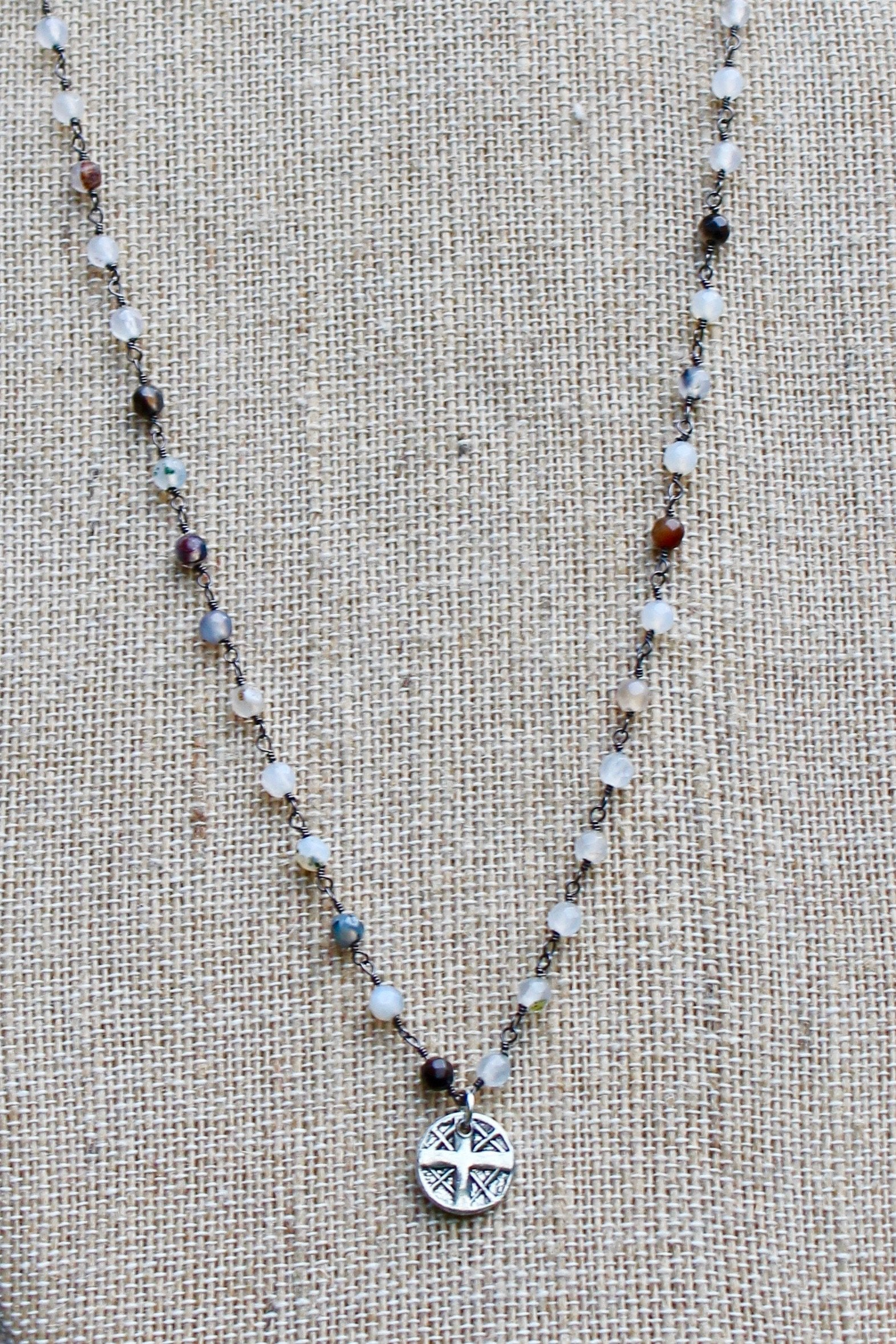 N140PB; Small Pewter Round Cross; 3mm Silvertone Black Agate Chain; Approximately 16 inches; ; ; ; Majestees