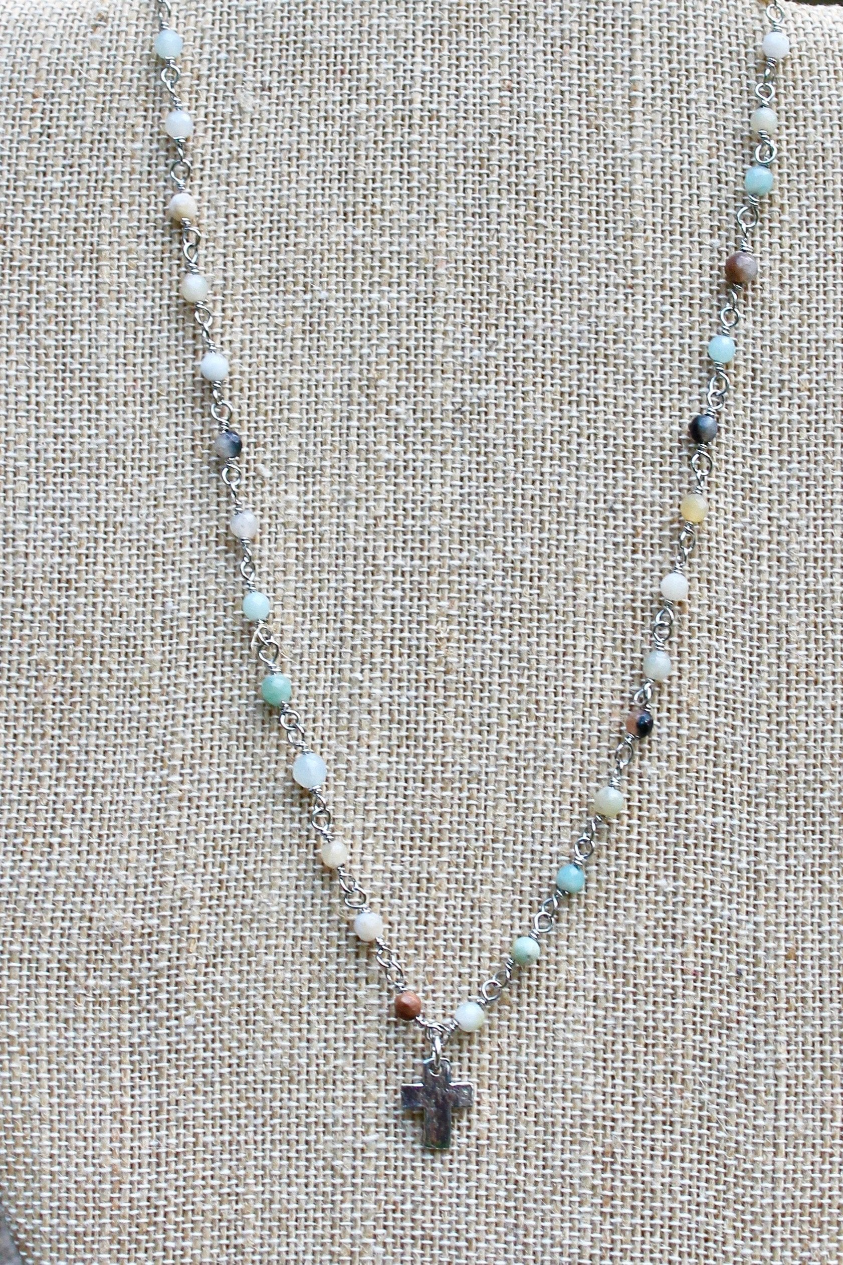 N141PA; Tiny Pewter Cross; 3mm Silvertone Amazonite Chain; Approximately 16 inches; ; ; ; Majestees