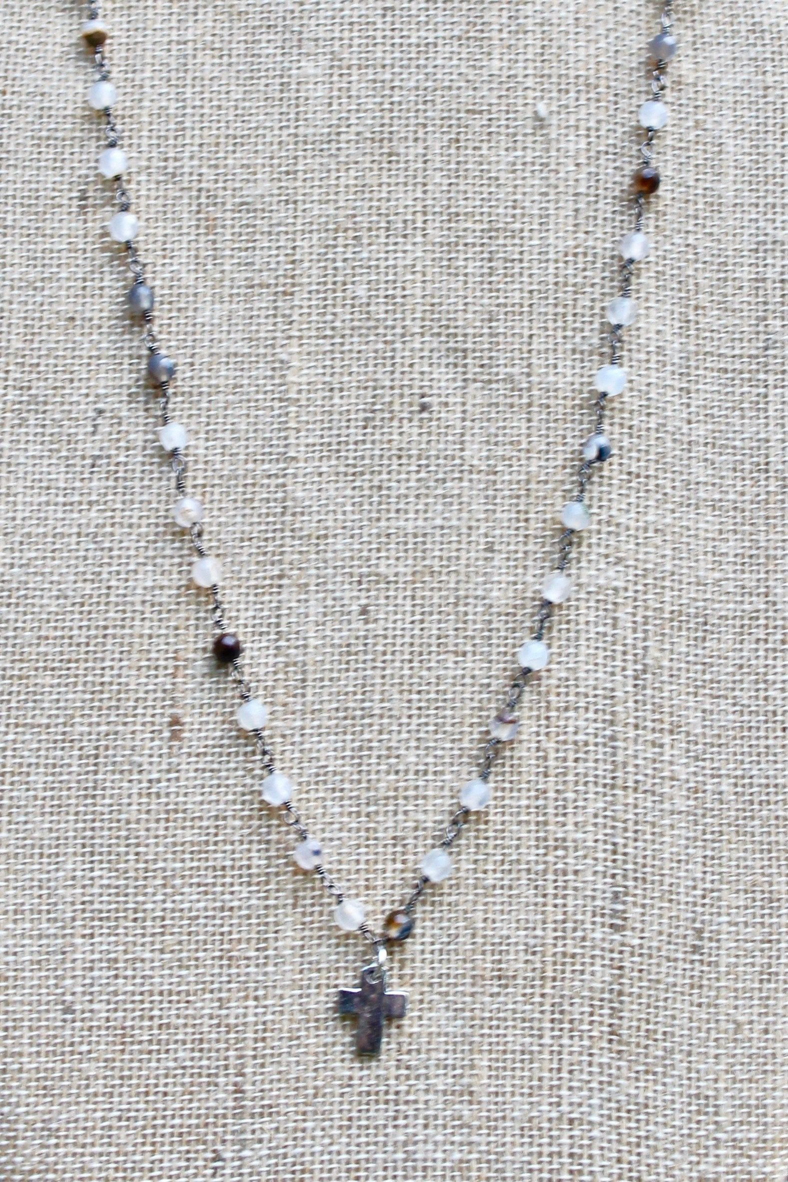 N141PB; Tiny Pewter Cross; 3mm Silvertone Black Agate Chain; Approximately 16 inches; ; ; ; Majestees