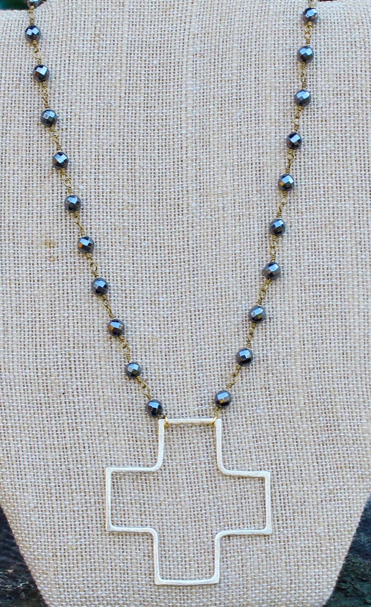 N146GH; Large Goldtone Wire Cross; 5mm Goldtone Hematite Chain; Approximately 16 inches; ; ; ; Majestees