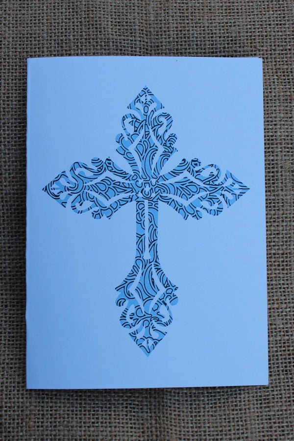 "NCB; Notecards; Mosaic Cross; 5.5"" x 4"" Kraft Card; Blank Inside; 8 Cards, 8 Envelopes; Majestees"