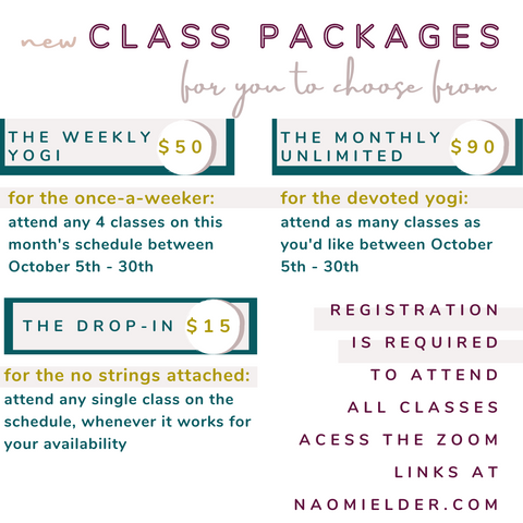naomi elder online yoga class package payment options weekly, drop in, unlimited
