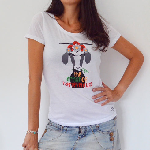 Camiseta Cabra Frida Mangas - Mojo Art Shop