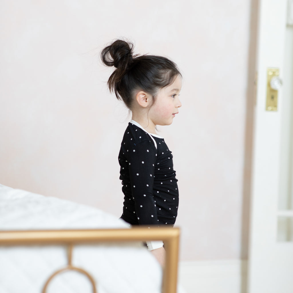 Bamboo Black Polkadot Two-Piece Pajamas