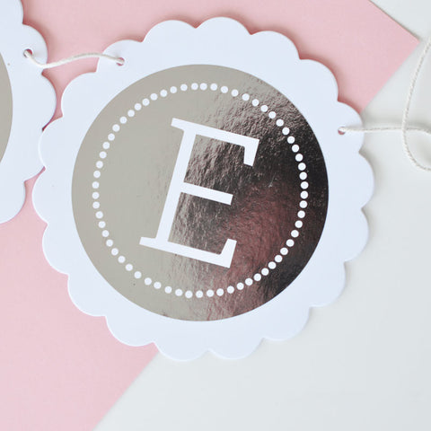 Personalized Metallic Foil Scalloped Banner [3 sizes from 1-24 letters]