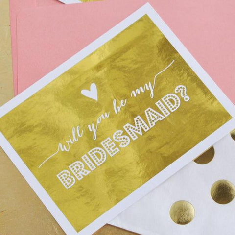 "Bridal Party Question Cards ""Will You Be My...?"" Gold Foil (set of 4, envelopes included)"