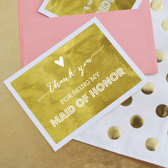 Maid of Honor Thank You Cards