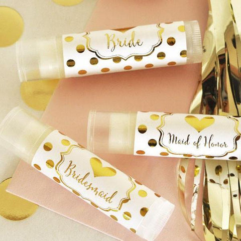 Personalized Bridal Party Lip Balms Gold Polka Dots [set of 12]