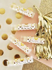 Bridal Party Lip Balm Pack Personalized Gold Foil Polka Dot Labels (set of 12)
