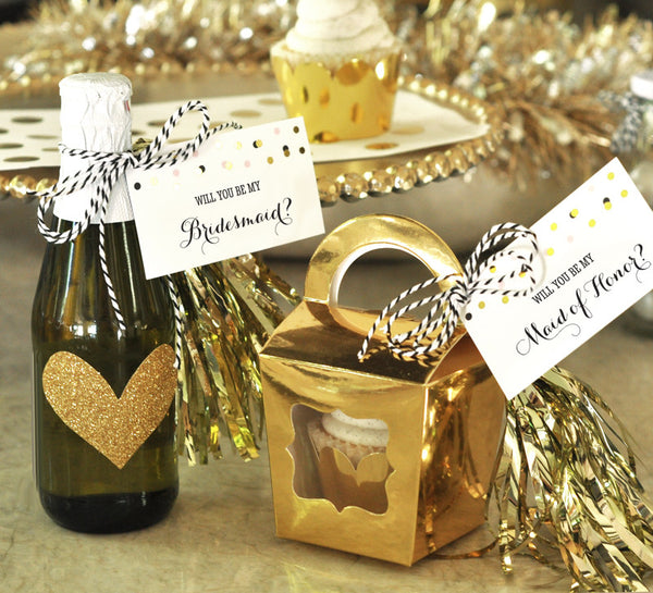 "Bridesmaid Gift Tag Set ""Will You Be My...?"" Tags & Tassels (set of 6)"