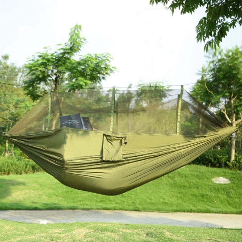 2 Persons Nylon Portable Hammock With Mosquito Net Hook Carry Bag 600lbs