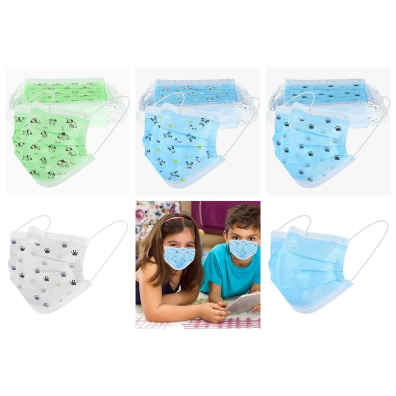Children's Colored & Printed Face Mask  Disposable  3Ply - 50 Pack