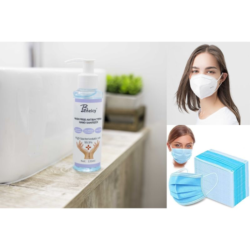 PPE Bundle - 5 Pack Hand Sanitizers  50 Pack 3-Ply Face Masks  4 Pack KN95 Protective Face Masks
