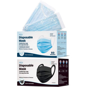 WeCare Individually Wrapped 3-Ply Adult Face Masks with Comfort Earloops - 50 Pack