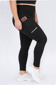 Athletic Leggings w/ Reflective Stripes & Pockets - 7Nineteen clothing store