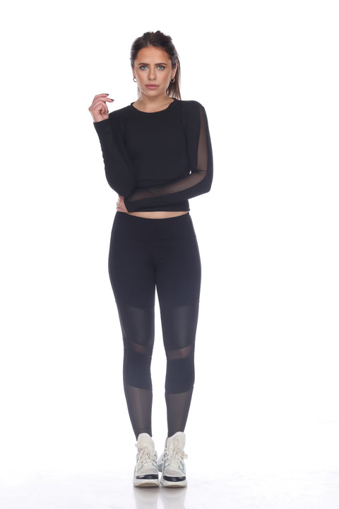 7NINETEEN BLACK LONG SLEEVE MESH INSET SPORTS TOP - 7Nineteen clothing store