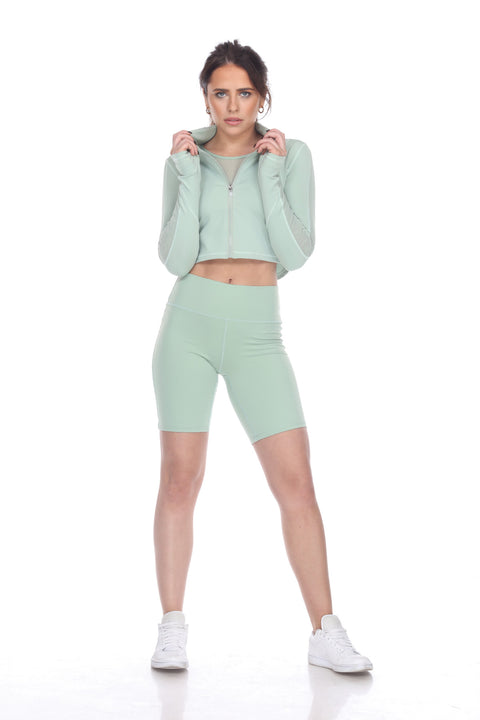 7NINETEEEN MINT GREEN CROPPED  JACKET - 7Nineteen clothing store