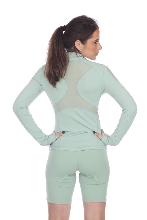7NINETEEN MINT GREEN INSET LONG SLEEVE ACTIVE JACKET - 7Nineteen clothing store