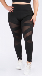 Active Mesh Striped Single Pocket Leggings - 7Nineteen clothing store