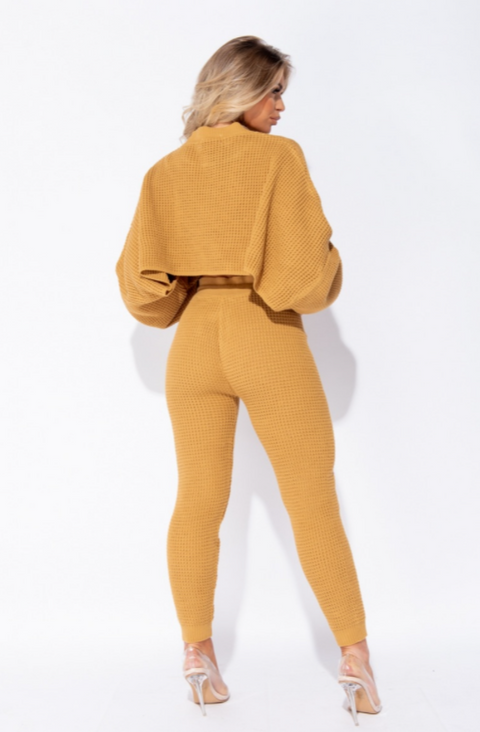Camel Waffle Knit Cropped  Lounge Set - 7Nineteen clothing store