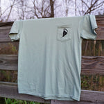 Load image into Gallery viewer, #SAVETHEPOULTS- Comfort Colors Front Pocket Tee- Back Logo- Bay Green