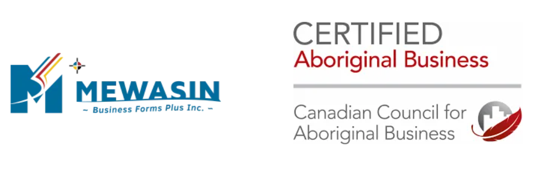 Mewasin Business Forms Plus logo with Certified Aboriginal Business logo