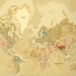Papel de Parede com Mapa Mundi GOLDEN MAP