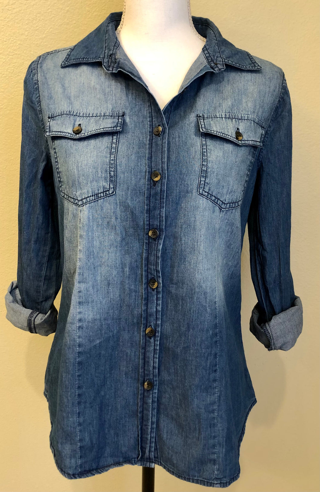 WITH LOVE CHAMBRAY TOP