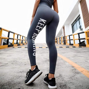 KingdomFiit Mermaid Curve English Letter printing Core Leggings Women Tight Yoga Pants High Waist Pushes up Hips Quick-dry Fitness Leggings