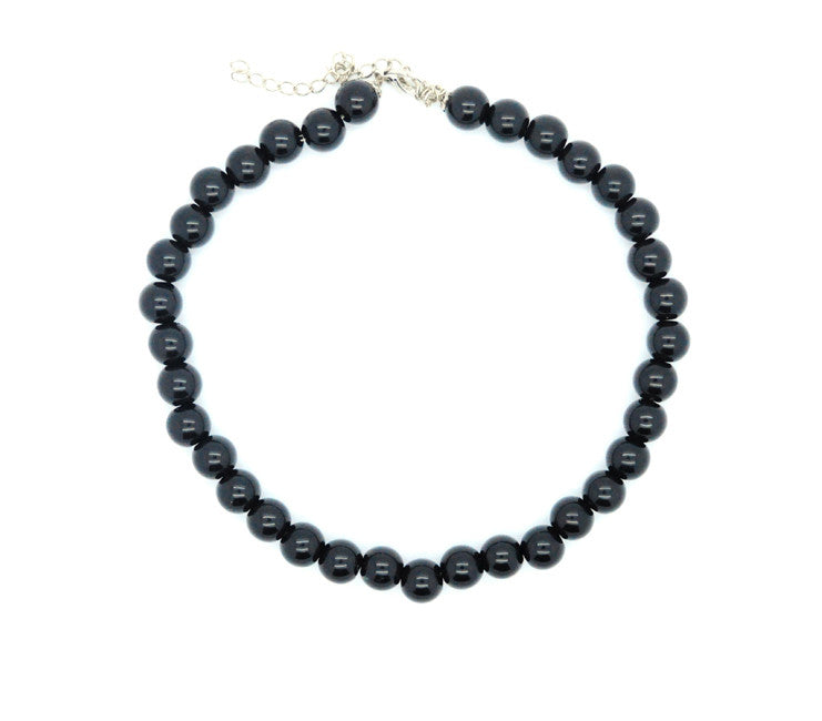 Black Acrylic Beaded Necklace