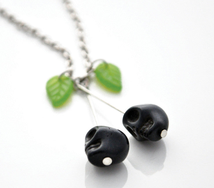 Rotten Cherries / Skulls Necklace