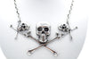 Triple Skull and Crossbones Chain Necklace