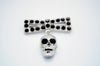 Diamonte Skull and Bow Brooch