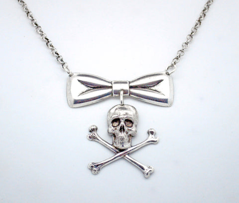 Bow and Skull and Crossbones Necklace