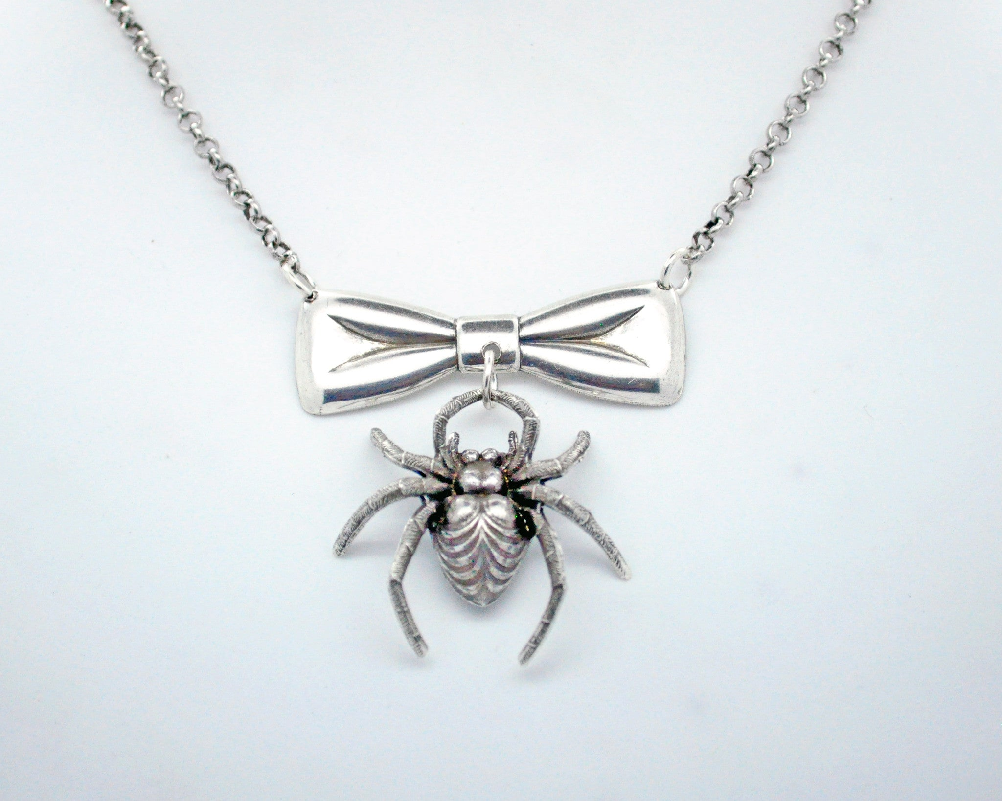 Bow and Spider Necklace