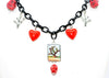 El Nopal - Cactus Loteria Necklace with Hearts and Skulls