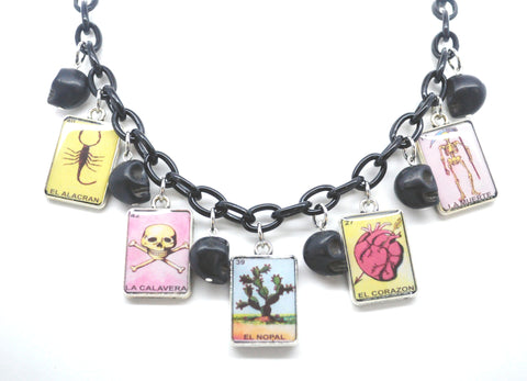 Loteria Necklace - Scorpion, Skull and Crossbones, Cactus, Heart, Skeleton