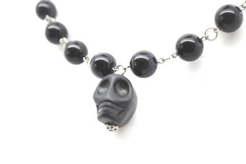 Black Skull and Bead Necklace