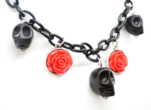 Black Skull and Red Roses Necklace